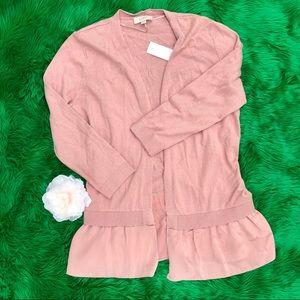 LOFT Pink blush satin trim open cardigan